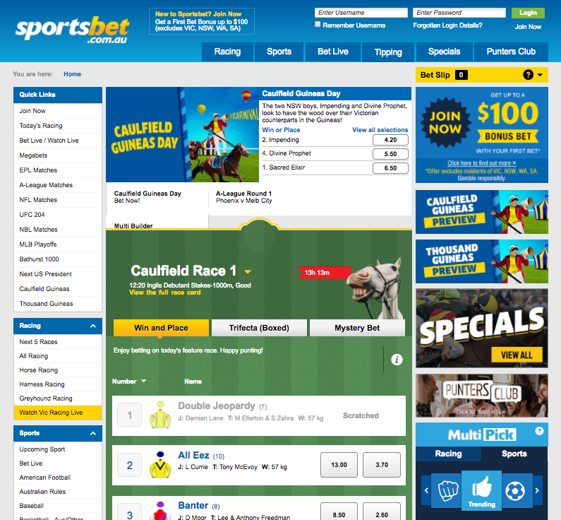 Sportsbet.com.au Website
